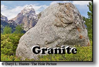 Granite example, it also shows how bolders are strewn about when a glacier melts and leaves a moraine