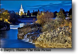 Snake river, idaho falls, temple