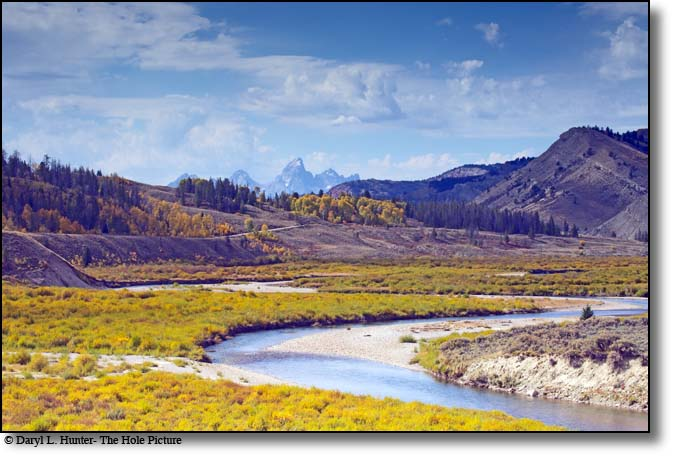 The Gros Ventre River Valley and the Grand Tetons of Jackson Hole