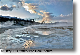 Mammoth Hot Springs, Yellowstone National Park, sunset