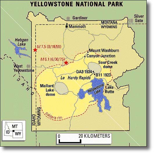 Yellowstone Super Volcano - Calderas in the us map