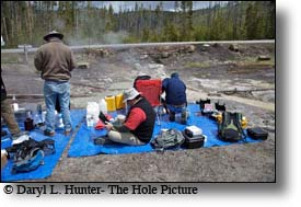 Thermophile microbe researchers in Yellowstone