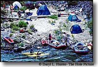 rafters kayakers camp on Snake River