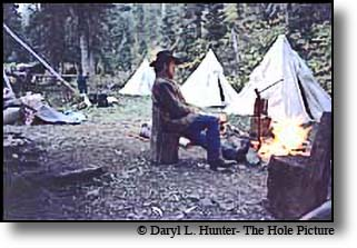 Hunting camp, cowboy, fire