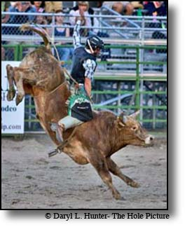 Bull riding is the most popular event at a rodeo.