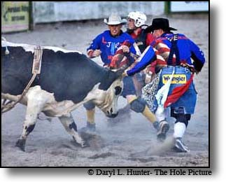 Often times some of the most exciting action at a rodeo is the interaction of the Rodeo Clowns and angry bulls.