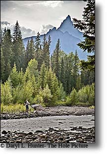 Fly-fisherman, Clarks Fork River, pilot peak