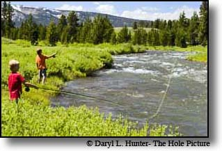 Cody and Scott Hunter fly-fishing the Indian Creek in Yellowstone National Park