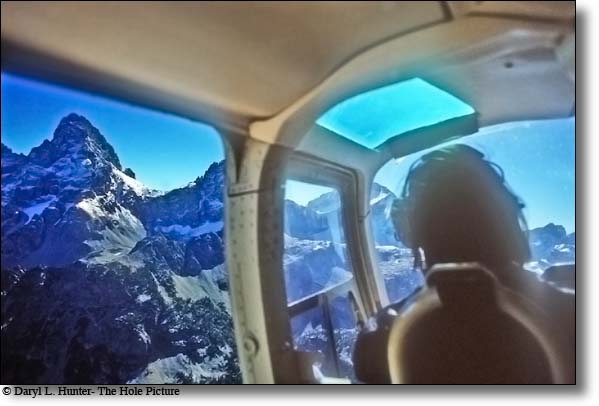 Helicopter flight over the Grand Tetons