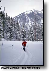 cross country skiing Mail Cabin Creek Teton Pass WY