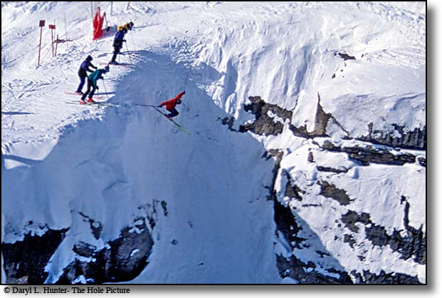 Dropping into Corbets Couloir at Jackson Hole Mountain Resort