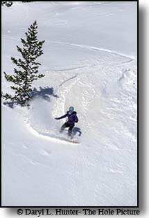 Snowboarder just east of Twin Slides on Teton Pass